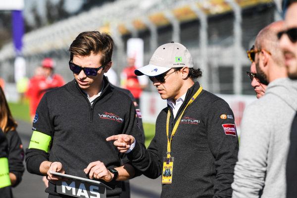 Felipe Massa (BRA), Venturi Formula E, on a track walk with a team member