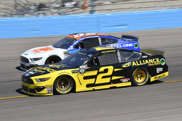 #2: Brad Keselowski, Team Penske, Ford Mustang Alliance Truck Parts, #52: Bayley Currey, Rick Ware Racing, Chevrolet Camaro Mtel-One