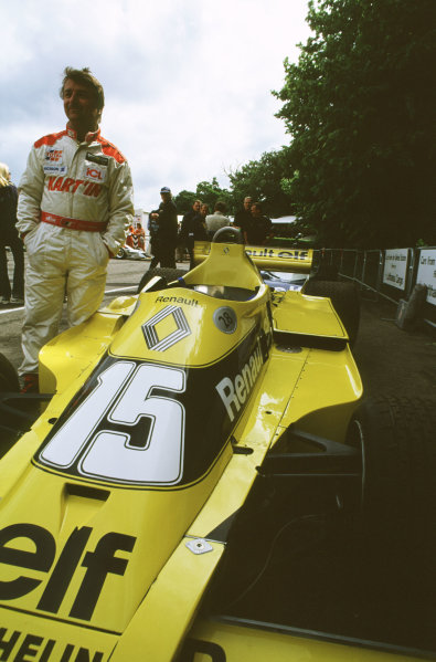 2000 Festival of Speed.Goodwood, England, Great Britain. 23-25 June 2000.Rene Arnoux and the Renault RS01 turbo. World - LAT Photographic