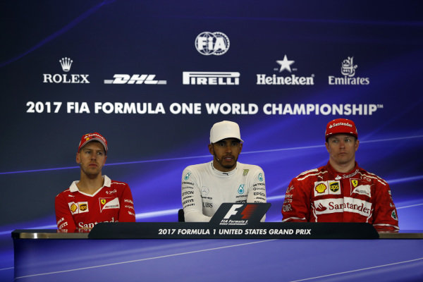 Sebastian Vettel (GER) Ferrari, race winner Lewis Hamilton (GBR) Mercedes AMG F1 and Kimi Raikkonen (FIN) Ferrari in the Press Conference at Formula One World Championship, Rd17, United States Grand Prix, Race, Circuit of the Americas, Austin, Texas, USA, Sunday 22 October 2017.