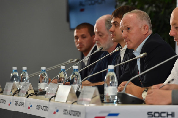 (L to R): Dmitry Pleshalov (RUS) Russian Automobile Ferderation Representative and and Head of Sochi Autodrom Department of NPJSC, Richard Cregan (IRL) Russian Grand Prix International Consultant, Sergey Vorobyev (RUS) Sochi Autodrom Deputy General Director and Alexander Saurin (RUS) Deputy Head of Administration of Krasnodar Krai at Formula One World Championship, Rd15, Russian Grand Prix, Practice, Sochi Autodrom, Sochi, Krasnodar Krai, Russia, Friday 9 October 2015.