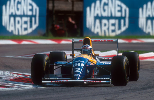1993 Italian Grand Prix.Monza, Italy.10-12 September 1993.Alain Prost (Williams FW15C Renault) 12th position. With just 4 laps to go and leading his engine failed.Ref-93 ITA 10.World Copyright - LAT Photographic