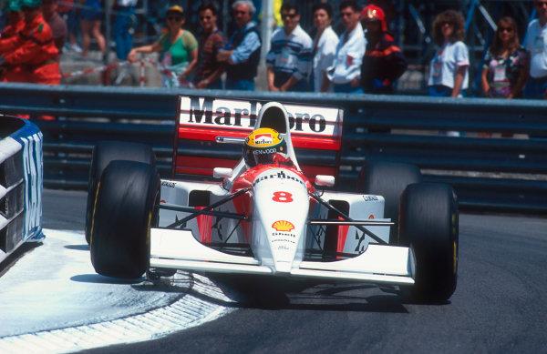 1993 Monaco Grand Prix.Monte Carlo, Monaco.20-23 May 1993.Ayrton Senna (McLaren MP4/8 Ford) 1st position.Ref-93 MON 04.World Copyright - LAT Photographic