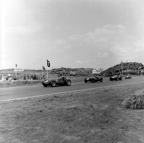 1958 Dutch Grand Prix.Zandvoort, Holland.24-26 May 1958.Mike Hawthorn (Ferrari Dino 246) 5th position.Ref-2002.World Copyright - LAT Photographic