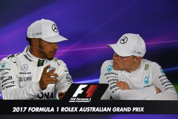 Lewis Hamilton (GBR) Mercedes AMG F1 and Valtteri Bottas (FIN) Mercedes AMG F1 in the Press Conference at Formula One World Championship, Rd1, Australian Grand Prix, Qualifying, Albert Park, Melbourne, Australia, Saturday 25 March 2017.