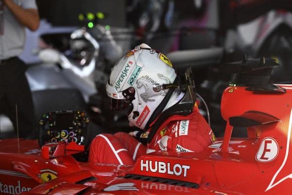 Race winner Sebastian Vettel (GER) Ferrari SF70-H in parc ferme at Formula One World Championship, Rd1, Australian Grand Prix, Race, Albert Park, Melbourne, Australia, Sunday 26 March 2017.