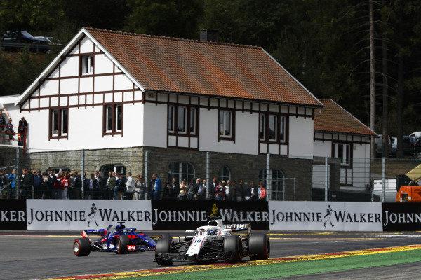 Lance Stroll, Williams FW41, leads Brendon Hartley, Toro Rosso STR13.