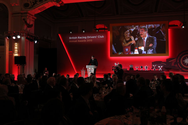 2015 British Racing Drivers Club Awards Grand Connaught Rooms, London Monday 7th December 2015 Nigel Mansell. World Copyright: Jakob Ebrey/LAT Photographic ref: Digital Image Mansell-01 (2)