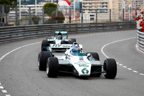 Keke Rosberg is reunited with his 1982 Williams FW08 Cosworth in a demonstration run with son Nico Rosberg, who took the wheel of his 2016 Mercedes W07 Hybrid.