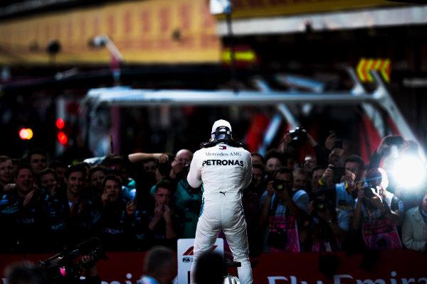 Lewis Hamilton, Mercedes AMG F1, 1st position, celebrates in Parc Ferme.