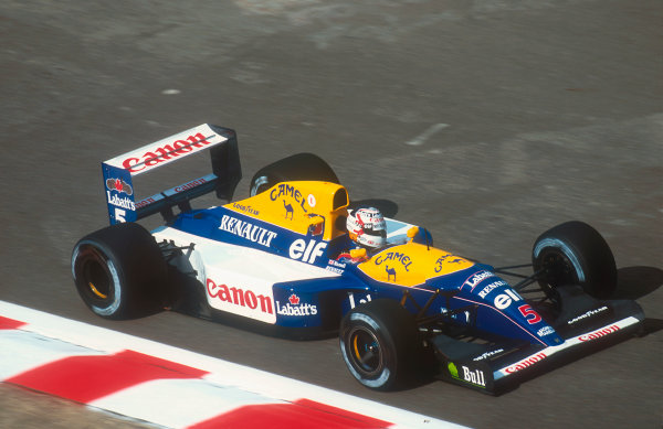 1992 Belgian Grand Prix.Spa-Francorchamps, Belgium.28-30 August 1992.Nigel Mansell (Williams FW14B Renault) 2nd position. Ref-92 BEL 21.World Copyright - LAT Photographic