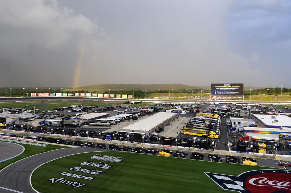 A rainbow is seen during a rain delay Copyright Jared C. Tilton/Getty Images