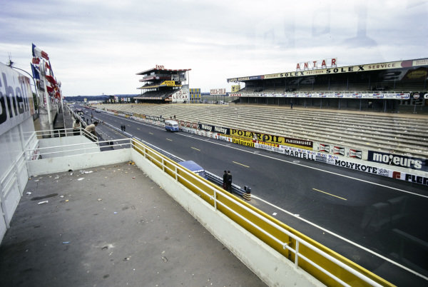 Empty grandstands after the race.