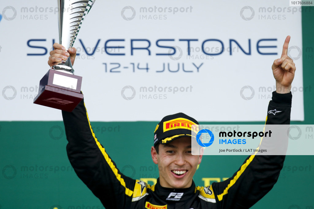 Race winner Jack Aitken (GBR, CAMPOS RACING) celebrates on the podium with the trophy