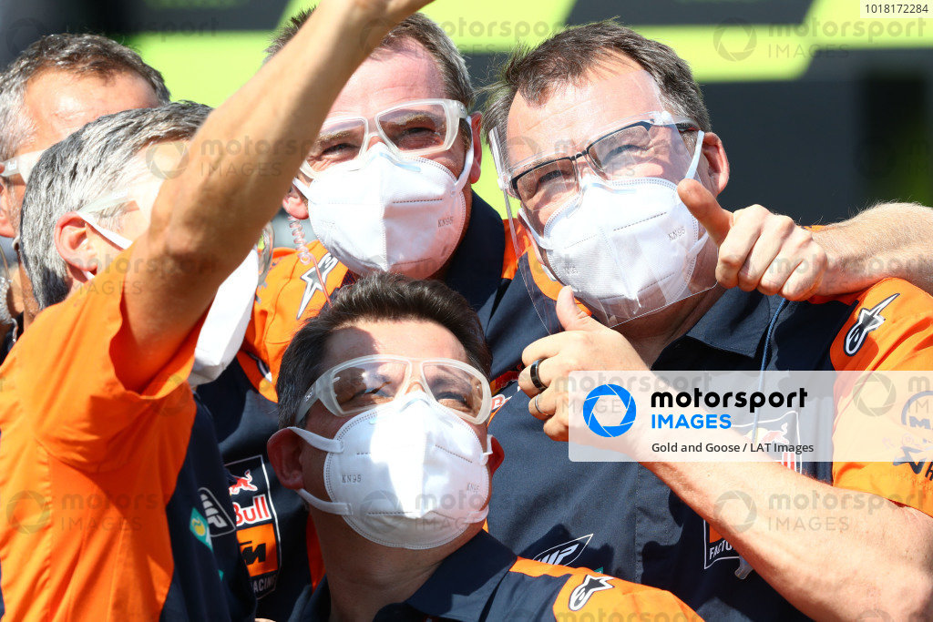 Brad Binder, Red Bull KTM Factory Racing?s team celebrate.