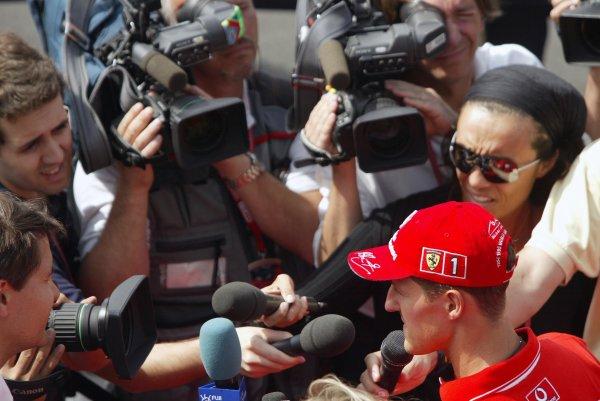 2002 European Grand Prix Grand Prix - PreviewNurburgring, Germany. 20th June 2002The media interview Michael Schumacher (Ferrari).World Copyright: Steve Etherington/LATref: Digital Image Only