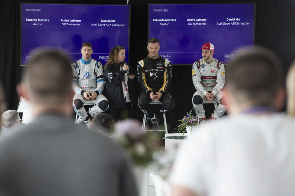 Driver Q&A with Edoardo Mortara (CHE) Venturi Formula E, Andre Lotterer (DEU), DS TECHEETAH and Daniel Abt (DEU), Audi Sport ABT Schaeffler