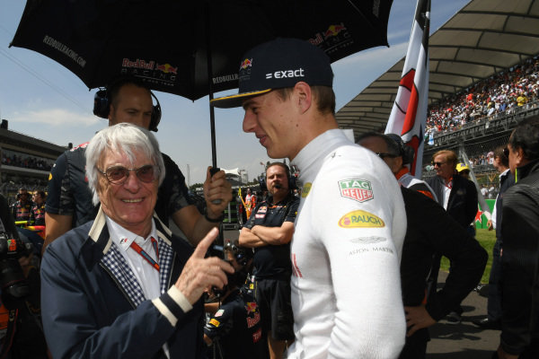 Bernie Ecclestone (GBR) CEO Formula One Group (FOM) and Max Verstappen (NED) Red Bull Racing on the grid at Formula One World Championship, Rd19, Mexican Grand Prix, Race, Circuit Hermanos Rodriguez, Mexico City, Mexico, Sunday 30 October 2016. BEST IMAGE