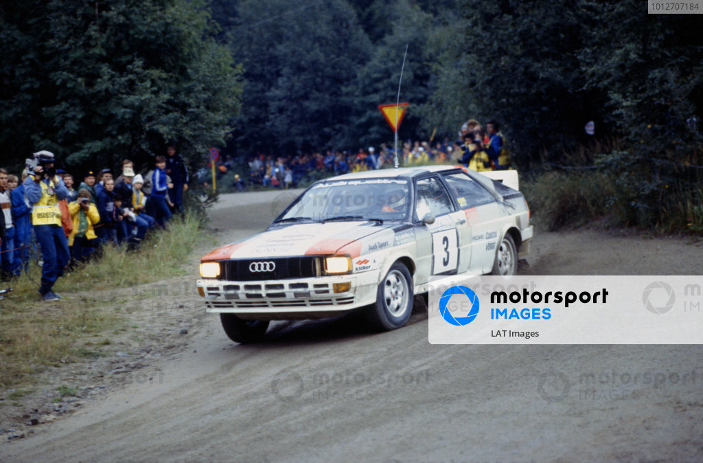 1000 Lakes Rally, Finland. 27-29 August 1982.Hannu Mikkola/Arne Hertz (Audi Quattro), 1st position, action.World Copyright: LAT PhotographicRef: 35mm transparency 82RALLY04