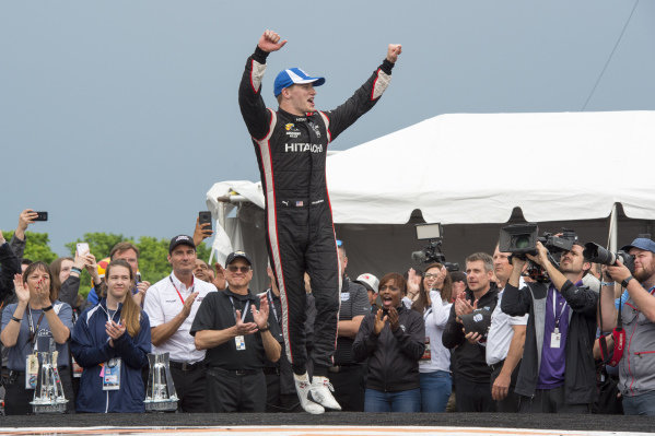 Josef Newgarden, Team Penske Chevrolet celebrates win on victory platform