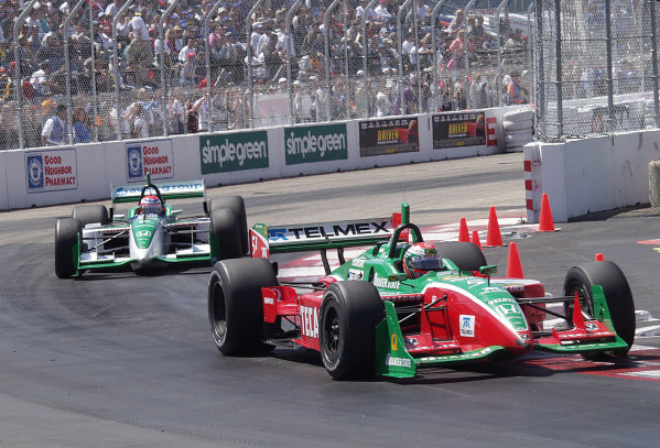 2001 CART Toyota Grand Prix of Long Beach, CA, 6-8 April, 2001, Streets of Long Beach, CA, USAAdrian Fernandez leads teammate Shinji Nakano-2001, Lesley Ann Miller, USALAT Photographic