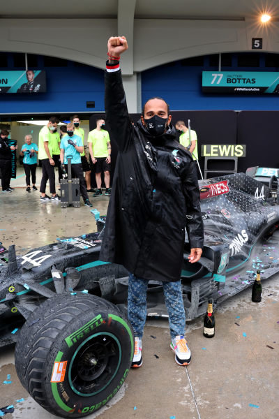 Lewis Hamilton, Mercedes-AMG Petronas F1, celebrates after securing his 7th world championship title