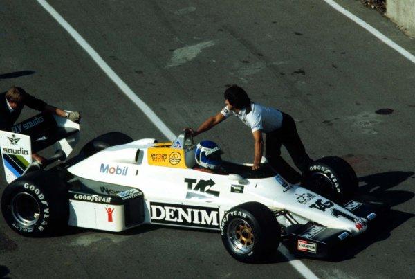 1983 European Grand Prix.Brands Hatch, England.23-25 September 1983.Keke Rosberg (Williams FW08C Ford) retires.World Copyright - LAT Photographic