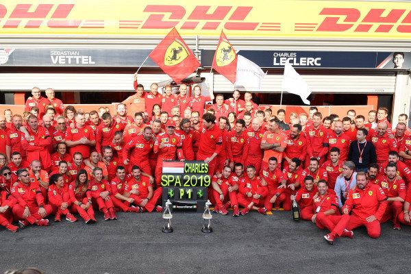 Charles Leclerc, Ferrari, 1st position, Mattia Binotto, Team Principal Ferrari, Laurent Mekies, Sporting Director, Ferrari, and the Ferrari team celebrate victory