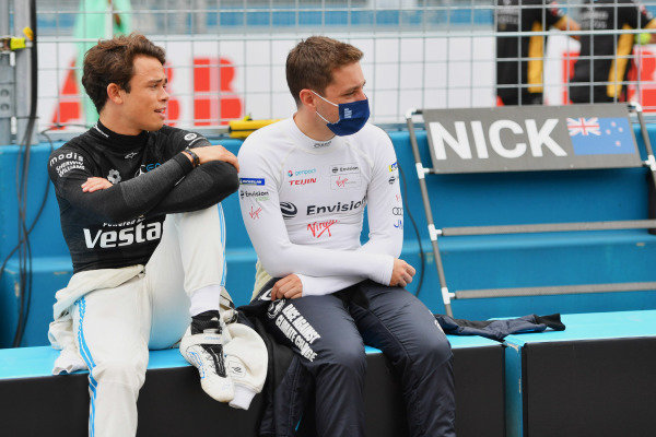 Nyck de Vries (NLD), Mercedes Benz EQ, and Robin Frijns (NLD), Envision Virgin Racing, on the grid