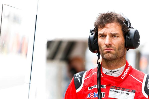 2015 Le Mans 24 Hours. Circuit de la Sarthe, Le Mans, France. Wednesday 10 June 2015. Mark Webber of Porsche Team (Porsche 919 Hybrid - LMP1). World Copyright: Zak Mauger/LAT Photographic. ref: Digital Image _L0U1929