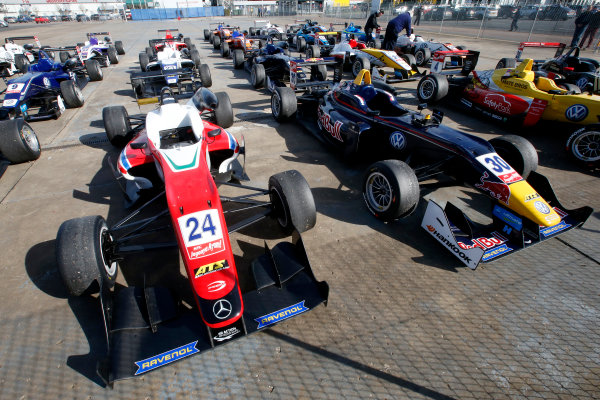 FIA F3 European Championship - Round 1, Race 3. Silverstone, Northamptonshire, UK 10th - 12th April 2015 Parc ferme, 24 Brandon Maisano (FRA, Prema Powerteam, Dallara F312 – Mercedes-Benz), 30 Callum Ilott (GBR, Carlin, Dallara F312 – Volkswagen). Copyright Free FOR EDITORIAL USE ONLY. Mandatory Credit: FIA F3. ref: Digital Image FIAF3-1428834994