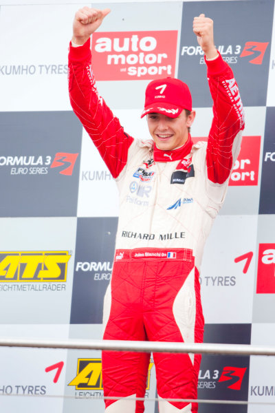 Dijon - Prenois, France. Sunday 11th October. Jules Bianchi (ART Grand Prix Dallara F308 / Mercedes) celebrates winning the 2009 Formula 3 Euro Series on the podium.World Copyright: Alastair Staley/LAT Photographic.Ref: _O9T9722 jpg