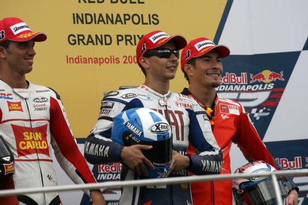 Indianapolis Grand Prix, Indianapolis, USA.28th - 30th August 2009.De Angelis Lorenzo and Hayden on the podium.World Copyright: Martin Heath/LAT Photographic ref: Digital Image SE5K6592