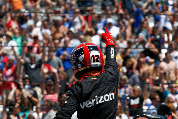 Verizon IndyCar Series Indianapolis 500 Carb Day Indianapolis Motor Speedway, Indianapolis, IN USA Friday 26 May 2017 Will Power, Team Penske Chevrolet celebrates winning the Pit Stop Competition World Copyright: Phillip Abbott LAT Images ref: Digital Image abbott_indy_0517_26892