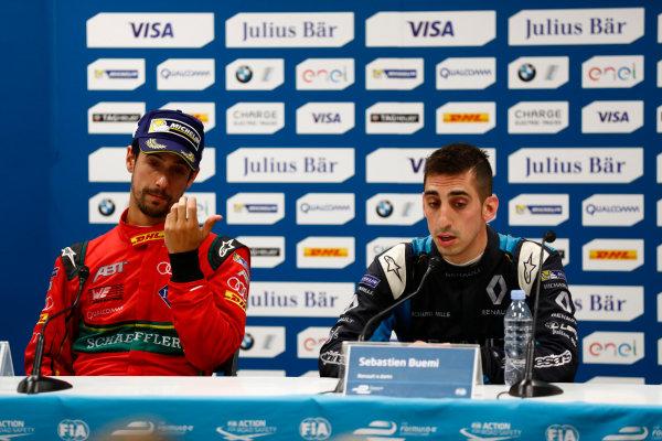 2016/2017 FIA Formula E Championship. Monte-Carlo, Monaco Saturday 13 May 2017. Lucas Di Grassi (BRA), ABT Schaeffler Audi Sport, Spark-Abt Sportsline, ABT Schaeffler FE02, and Sebastien Buemi (SUI), Renault e.Dams, Spark-Renault, Renault Z.E 16, in the Press Conference. Photo: Sam Bloxham/LAT/Formula E ref: Digital Image _W6I6877
