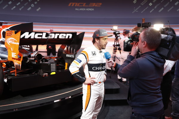 McLaren MCL32 Honda Formula 1 Launch. McLaren Technology Centre, Woking, UK. Friday 24 February 2017. Fernando Alonso, McLaren, is interviewed by the media. World Copyright: Glenn Dunbar/LAT Images Ref: _31I9578