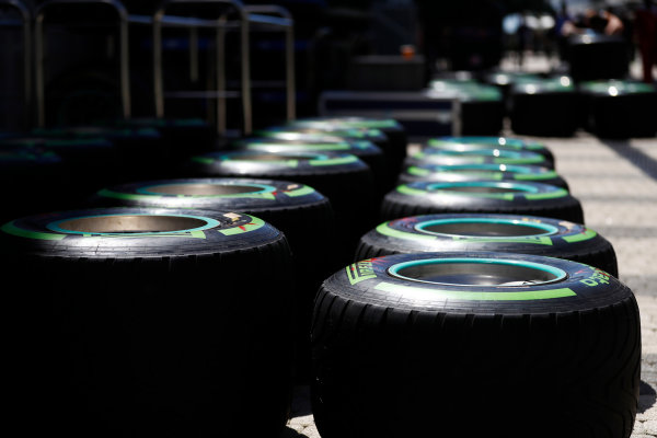 Sochi Autodrom, Sochi, Russia. Thursday 27 April 2017. Pirelli tyres. World Copyright: Glenn Dunbar/LAT Images ref: Digital Image _31I6972