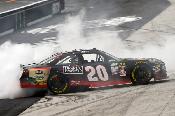 NASCAR Xfinity Series Fitzgerald Glider Kits 300 Bristol Motor Speedway, Bristol, TN USA Saturday 22 April 2017 Erik Jones, Reser's American Classic Toyota Camry celebrates his win with a burnout World Copyright: Nigel Kinrade LAT Images ref: Digital Image 17BRI1nk06959