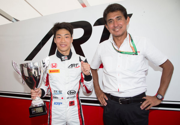 2017 GP3 Series Round 1.  Circuit de Catalunya, Barcelona, Spain. Sunday 14 May 2017. Nirei Fukuzumi (JPN, ART Grand Prix) poses with his trophy, won in race Jack Aitken (GBR, ART Grand Prix) and Aguri Suzuki  Photo: Jed Leicester/GP3 Series Media Service. ref: Digital Image JL1_0406