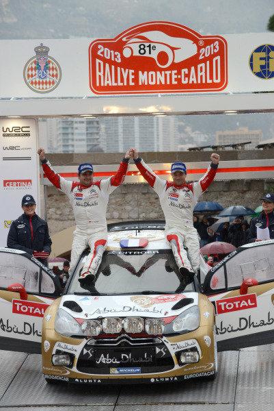 Sebastien Loeb (FRA) and Daniel Elena (MC), Citroen DS3 WRC on the podium. FIA World Rally Championship, Rd1, Rally Monte- Carlo, Day Five, Monte-Carlo, Monaco, 20 January 2013.