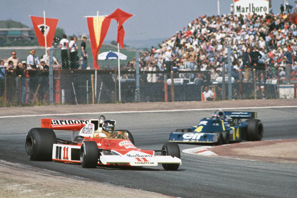 Jarama, Spain. 2nd May 1976.  James Hunt (McLaren M23-Ford), 1st position, leads Patrick Depailler (Tyrrell P34-Ford), retired with brake problems, action. World Copyright: LAT Photographic.  Ref:  76 ESP 43.