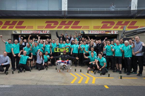 Circuit Gilles Villeneuve, Montreal, Canada. Sunday 12 June 2016. Lewis Hamilton, Mercedes AMG, 1st Position, celebrates after the race with his team. World Copyright: Steve Etherington/LAT Photographic ref: Digital Image SNE29838