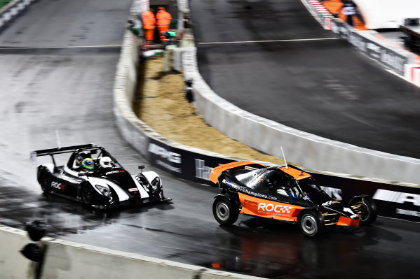2015 Race Of Champions Olympic Stadium, London, UK Thursday 19 November 2015 David Coulthard (GBR) in the ROC Buggy in Practice with Felipe Massa (BRA) in the Radical SR3 RSX closely behind. Copyright Free FOR EDITORIAL USE ONLY. Mandatory Credit: 'Race Of Champions'