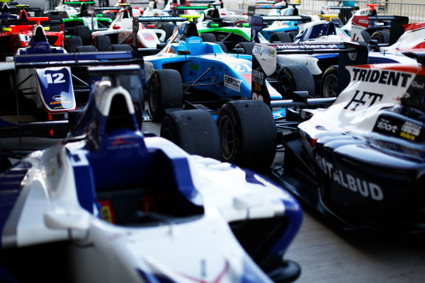 2015 GP3 Series Round 9. Yas Marina Circuit, Abu Dhabi, United Arab Emirates. Sunday 29 November 2015. Cars in parc ferme. Photo: Zak Mauger/GP3 Series Media Service. ref: Digital Image _L0U8107