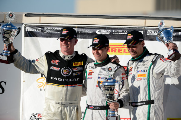 01-03 August,  2014, Lexington, Ohio, USA #3, Cadillac Racing CTS-VR, Johnny O'Connell, #88 Bentley Continental GT3, Guy Smith, #08 Bentley Continental GT3, Butch Leitzinger on the GT Podium, Race # 1. ©2014, Richard Dole LAT Photo USA