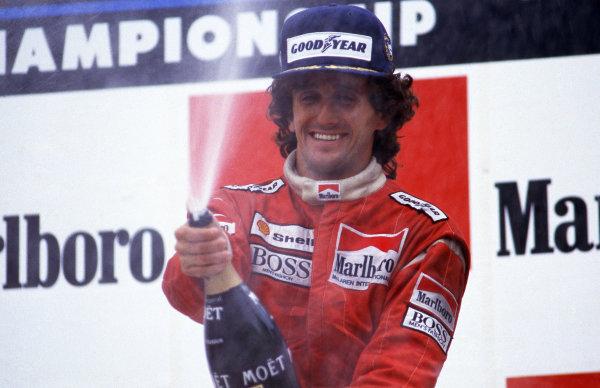 Race winner Alain Prost (FRA) Mclaren celebrates after equalling Jackie Stewarts (GBR) record number of twenty-seven  wins.  Formula One World Championship, Rd 3, Belgian Grand Prix, Spa-Francorchamps, 17 May 1987.