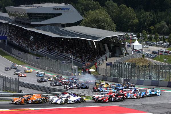 2017  European Le Mans Series, Red Bull Ring, 21st-23rd July 2017, Start, #22 Memo Rojas (MEX) / Nicolas Minassian (FRA) / L?o Roussel (FRA) - G-DRIVE RACING - Oreca 07 - Gibson leads  World Copyright. JEP/LAT Images
