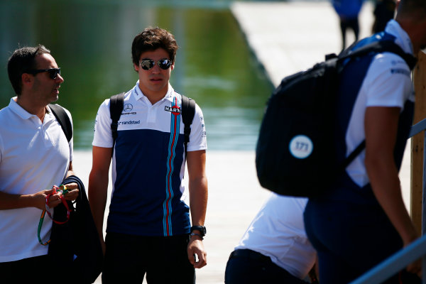 Circuit Gilles Villeneuve, Montreal, Canada. Thursday 08 June 2017. Lance Stroll, Williams Martini Racing, arrives at the circuit with colleagues. World Copyright: Andy Hone/LAT Images ref: Digital Image _ONY2175