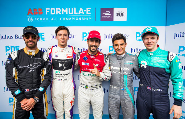 Lucas Di Grassi (BRA), Audi Sport ABT Schaeffler, Audi e-tron FE04, celebrates after taking Pole Position with Jean-Eric Vergne (FRA), TECHEETAH, Renault Z.E. 17, Alex Lynn (GBR), DS Virgin Racing, DS Virgin DSV-03,Mitch Evans (NZL), Panasonic Jaguar Racing, Jaguar I-Type II, and Oliver Turvey (GBR), NIO Formula E Team, NextEV NIO Sport 003.