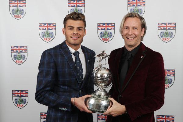 2017 British Racing Drivers Club Awards. London Hilton Hotel, Park Lane, London. Monday 4th December 2017. Seb Morris and Rick Parfitt Jnr. World Copyright: Jakob Ebrey / LAT Images. Ref: MorrisParfitt-01